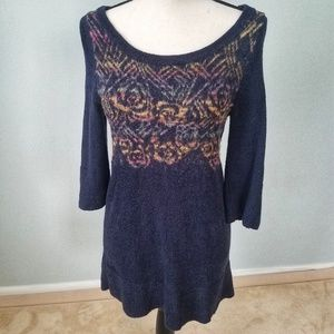 Free People Boho Multicolor Floral Tunic Sweater